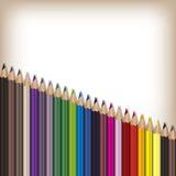 Matite realistiche di colore messe Fotografie Stock Libere da Diritti