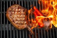 Matkött - nötköttbiff på bbq-grillfestgaller med flamman royaltyfri fotografi