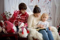 Matka czyta książkę jej synowie, dzieci siedzi w wygodnym karle na śnieżnym zima dniu obrazy royalty free
