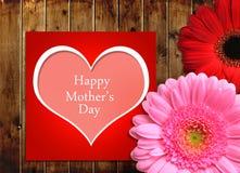 Matka dnia karta z gerbera kwiatami obraz royalty free