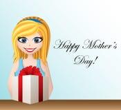 Matka dnia kartka z pozdrowieniami z kreskówki dziewczyną ilustracja wektor
