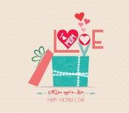Matka dnia miłości kartka z pozdrowieniami z prezentem Zdjęcie Stock