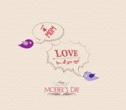 Matka dnia plakat z ptaka i bąbla kartka z pozdrowieniami Zdjęcia Royalty Free