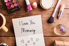 Matka dnia skład Kartka z pozdrowieniami i piękna produkty Zdjęcie Royalty Free