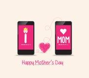 Matka dnia złączona miłość wpólnie telefonem Zdjęcie Royalty Free