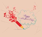 Matka dzień z ołówkowego rysunku bąbla kartą Obrazy Royalty Free
