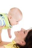 matka dziecka airborn Zdjęcia Royalty Free
