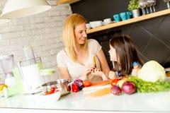 Matka i córka przygotowywa zdrowego sok fotografia royalty free