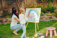 Matka i córki rysunek zdjęcie stock