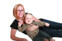 Matka i chłopiec obraz stock