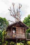 Matka i syn jesteśmy w drzewnym domu fotografia stock