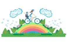 Matka i syn na bicyklu - abstrakt karta Obraz Royalty Free
