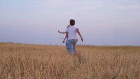 Matka i synowie chodzi w pszenicznym polu zbiory