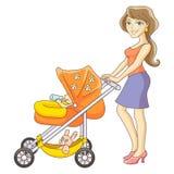 Matka i wózek spacerowy Obrazy Royalty Free