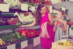Matka z córką wybiera zieloną i czerwoną paprykę Obrazy Stock