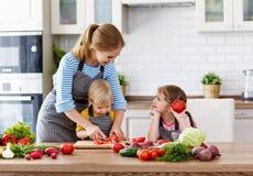 Matka z dziećmi przygotowywa jarzynowej sałatki Obraz Stock