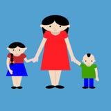 Matka z dzieciak kreskówki ilustracją Zdjęcia Royalty Free