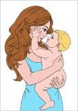 Matka z dzieckiem na białym tle Obraz Royalty Free