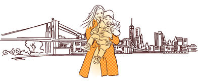 Matka z dzieckiem przed Nowy Jork panoramą Obrazy Stock