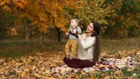 Matka z synem w jesień parku zbiory wideo