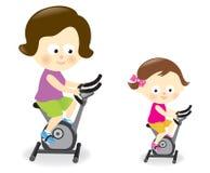 Matki i córki ćwiczenia jeździeccy rowery ilustracji