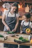 Matki i córki kulinarni warzywa zdjęcie stock