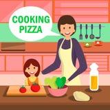 Matki i córki pizzy Kulinarna ilustracja royalty ilustracja