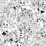Matki i dzieci barwi stronę Czarny i biały bezszwowy wzór z doodle zwierzętami ilustracji