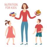 Matki i dziecka łasowania owoc i warzywo royalty ilustracja