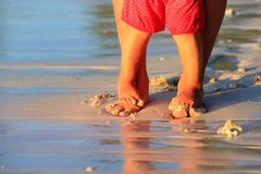 Matki i dziecka cieki chodzi na plaży Fotografia Stock