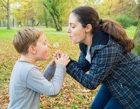 Matki i syna podmuchowy dandelion Obrazy Royalty Free