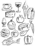 Matklotter på vit Arkivbilder