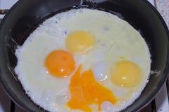 Matlagning av stekte ägg Ägg stekas i en stekpanna Fotografering för Bildbyråer