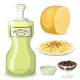 Matlagning för kokkonst för tecknad filmItalien mat läcker hemlagad stock illustrationer