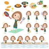 Matlagning för kvinna för klänning för egennamnhårgräsplan Arkivbilder
