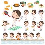 Matlagning för kvinna för rosa färgomslag mellersta Arkivbild