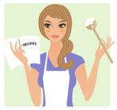 Matlagning för ung kvinna royaltyfri illustrationer