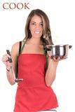 Matlagning för ung kvinna, studioskott, soppa royaltyfri fotografi