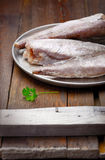 Matlagning från djupfryst: djupfryst fisk på ett magasin Arkivfoton