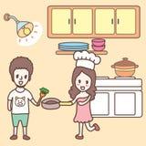 Matlagning i köktecknade filmen Arkivbilder