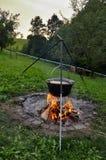 Matlagning i natur arkivfoto