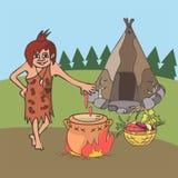 Matlagning i tecknad film för forntida historia vektor illustrationer