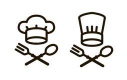 Matlagning, kokkonstlogo eller symbol Beståndsdelar av det menyrestaurangen eller kafét också vektor för coreldrawillustration royaltyfri illustrationer