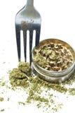 Matlagning med medicinsk och fritids- drogbransch för marijuana, i Amerika Arkivbild