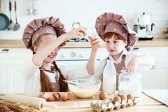 Matlagning med ungar royaltyfri foto