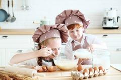Matlagning med ungar arkivfoto