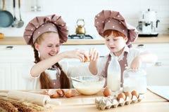Matlagning med ungar royaltyfria bilder
