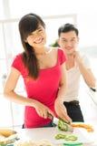 Matlagning och gyckel Fotografering för Bildbyråer