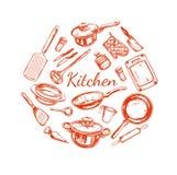 Matlagning- och kökredskapuppsättning Arkivfoto
