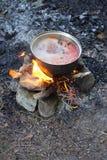 Matlagning på campfire arkivbild